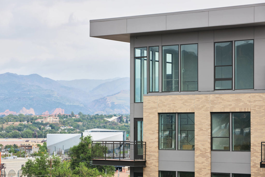 Upper floors of The Mae overlooking a mountain range